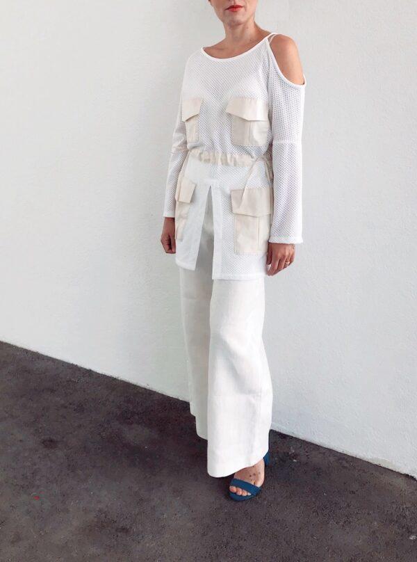 White Mesh Blouse - Organic Cotton - Open Shoulder