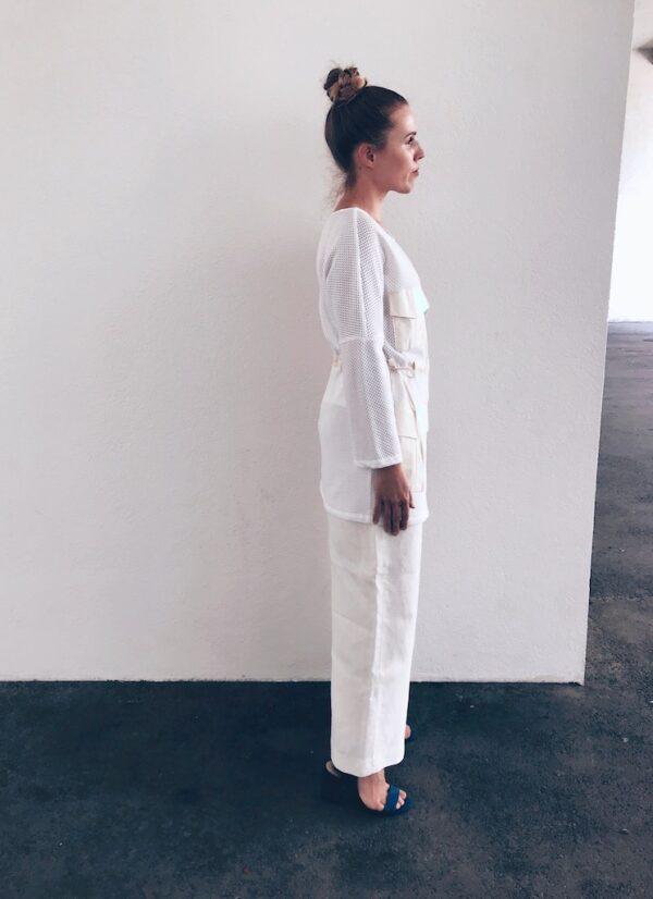 White Mesh Blouse - Organic Cotton - Right Side