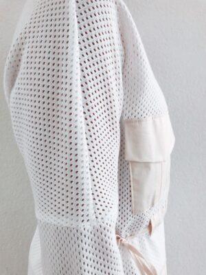 White Mesh Blouse - Organic Cotton - Sleeve Detail