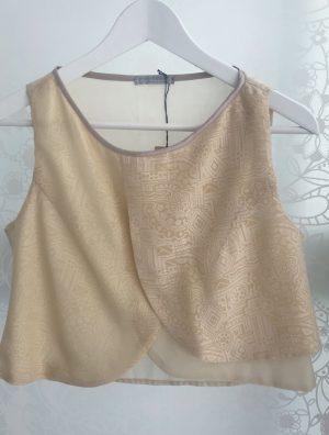Beige Crop Top - Silk Cotton - Front