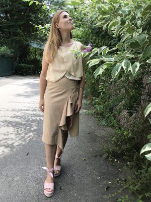 Beige Crop Top - Silk Cotton - Mood