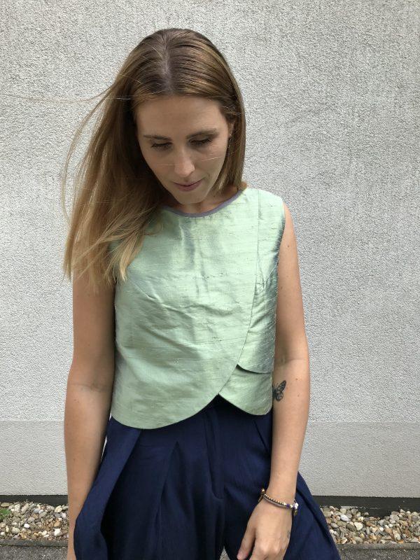 Green Crop Top - Shantung Silk - Close-Up