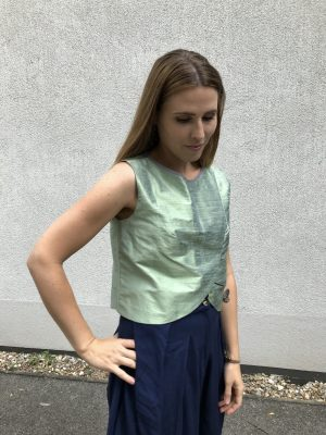 Green Crop Top - Shantung Silk - Side