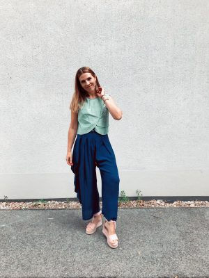 Green Crop Top - Shantung Silk - with Blue Pants