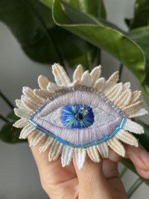 Brooch Embroidery - Eye Flower