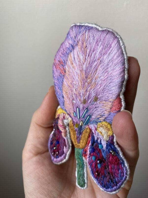 Brooch Embroidery - Iris Flower - Hand