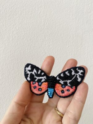 Brooch Embroidery - Butterfly - Black & Pink