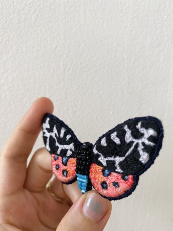 Brooch Embroidery - Butterfly - Black & Pink - Side