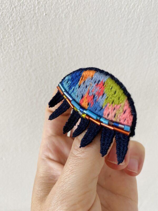 Brooch Embroidery - Sleepy Eye - Side
