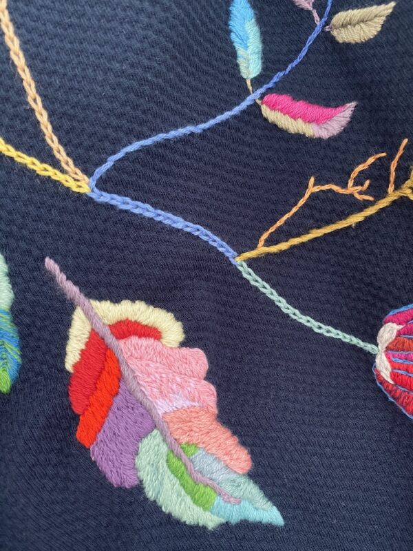 Organic Sweater - Embroidery Flowers - Blue - Close Up 1