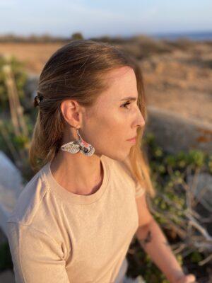 Handmade Earring Embroidery - Automeris Frankae - Mood