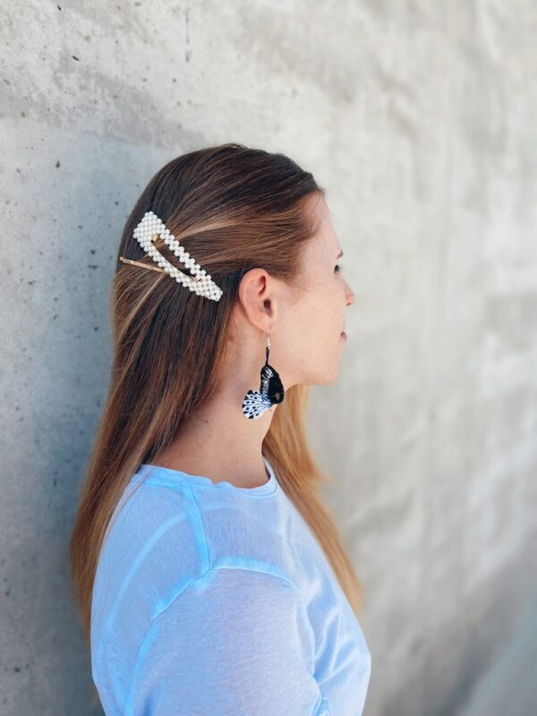 Handmade Earring Embroidery - Butterly - Black & White - Mood